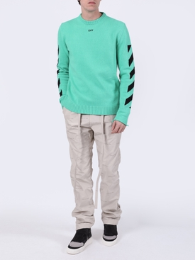 Ribbed Crewneck Arrow Logo Sweater MINT/BLACK