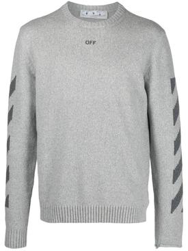 Diagonal Knit Crewneck, Grey