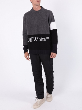 Wool logo colorblock sweater GREY