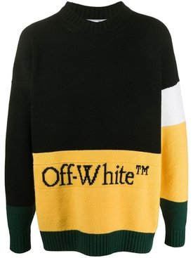 Wool logo colorblock sweater BLACK/YELLOW
