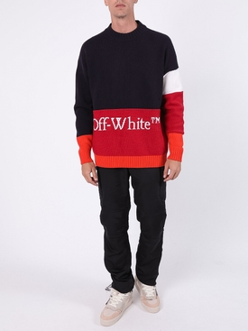 Wool logo colorblock sweater BLUE/RED