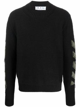 Reverse Arrow Diagonal Knit Crewneck Sweater Black And Green