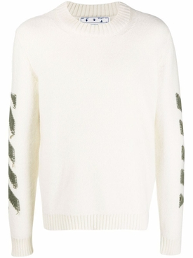 Reverse Arrow Diagonal Knit Crewneck Sweater White And Green