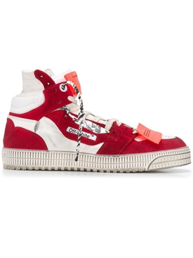 Off court paneled high-top sneakers WHITE RED