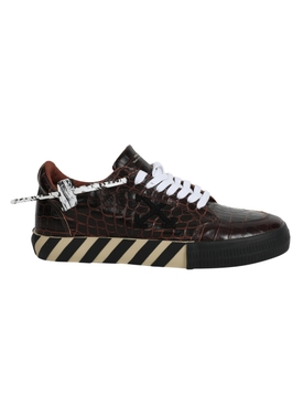 Croc-embossed vulcanized sneakers DARK BROWN