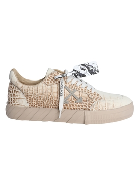 Croc-embossed vulcanized sneakers BEIGE