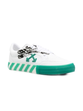 Low vulcanized canvas sneakers White Green