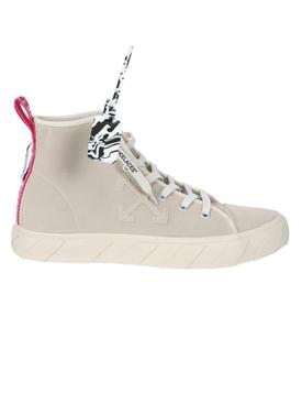 Beige mid-top Vulcanized sneaker