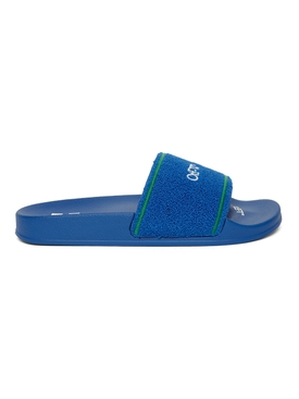 Towel embroidery slide sandal, blue and green