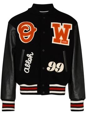 Barrel leather varsity jacket BLACK/ORANGE