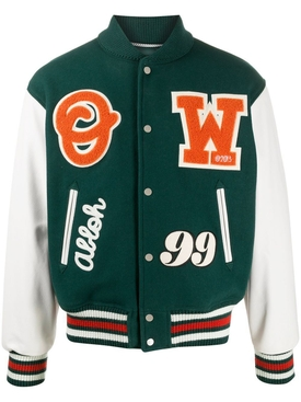 Barrel leather varsity jacket GREEN/ORANGE