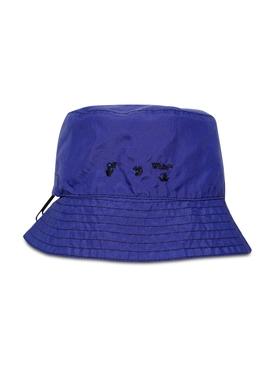 Nylon Logo Bucket Hat, BLUE AND WHITE