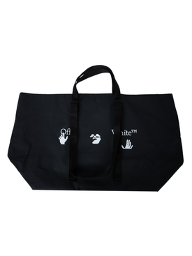 Black and white logo print tote bag