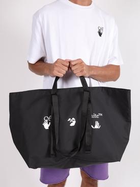 Black and white logo print tote bag