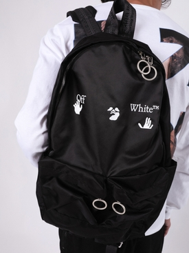 Black and white logo backpack