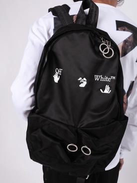 Black and white logo backpack