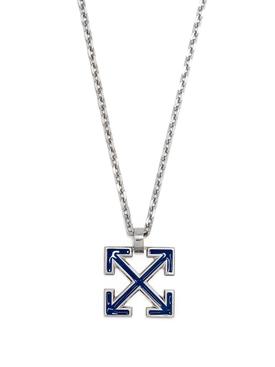 Blue and Silver-tone Enamel arrow necklace