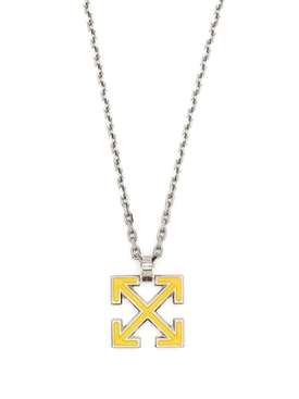 Yellow and Silver-tone Enamel arrow necklace