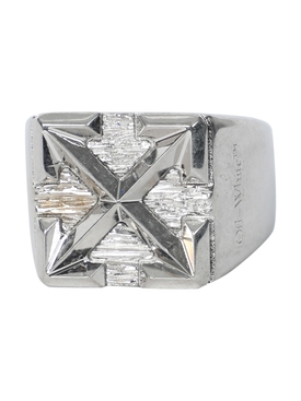 Silver-tone arrow signet ring