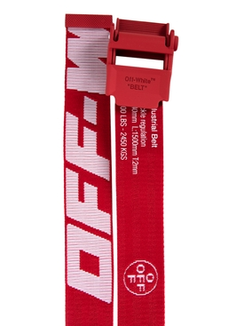 Red and white Industrial logo belt