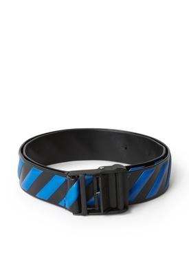 Diagonal Industrial Leather Belt Blue Black