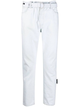 Slim low crotch belted jeans, white