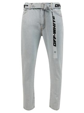 Slim low crotch jean, light blue