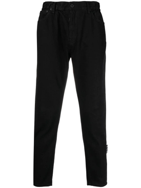Slim low crotch denim jeans, black