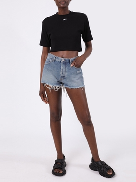 Ribbed logo crop top BLACK/WHITE