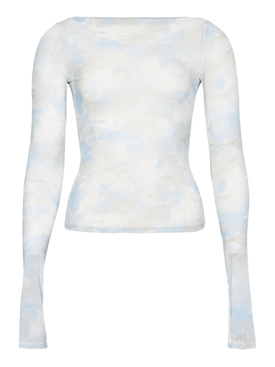 Blue and White Tie-Dye Sheer Top