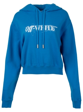 PEN LOGO CROP HOODIE BLUE AND WHITE
