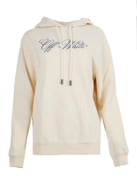 Beige cursive logo hoodie