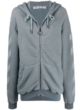 Grey arrow zipped hoodie sweater