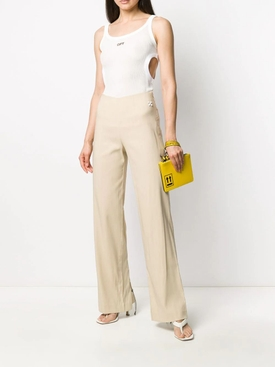 Beige Wide Leg Pants
