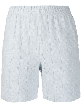 Off-white - Light Blue Jacquard Logo Shorts - Women