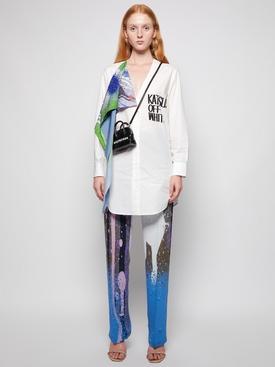 X Katsu Bandana Detail Logo Print Shirt Dress White