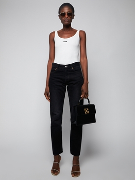 Ribbed cotton bodysuit White/Black