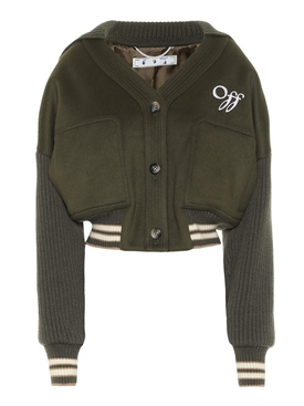 Military green cropped bomber jacket
