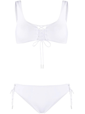 White Arrow Logo Lace-Up Bikini