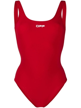Red Logo One-Piece Swimsuit