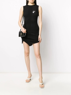 Black Asymmetric Crew-neck Mini Dress