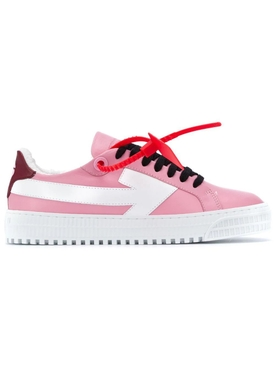Bubblegum pink leather arrow sneakers