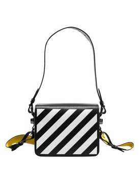 Black and white diagonal mini shoulder bag