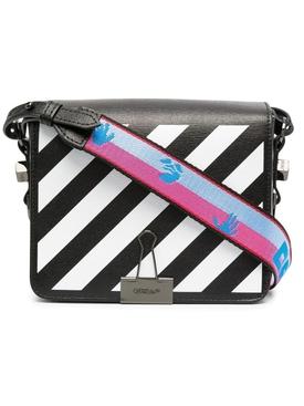 Classic Diagonal Flap Bag BLACK/WHITE