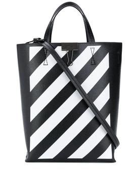 Black and white diagonal tote bag