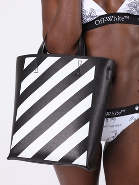 Black and white diagonal tote bag