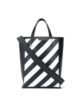 White and Black Diagonal Stripes Tote Bag