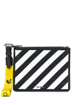Diagonal stripe pouch BLACK