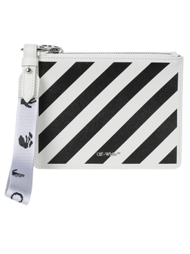 Diagonal stripe pouch WHITE