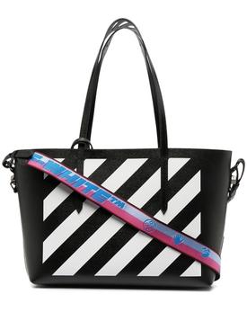 Diagonal Shopper Tote Black White